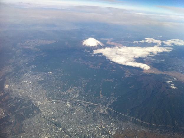 写真: 空から見た富士山