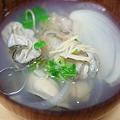 ゴールデンスープに牡蠣とアマニ油投入