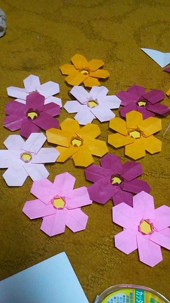 ハート 折り紙 折り紙 コスモス 立体 : photozou.jp