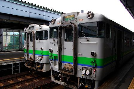 帯広駅にて。快速狩勝