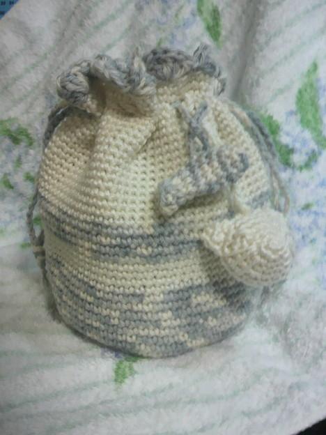 Photos: 新作♪ミニ巾着。ホワイトグレー系